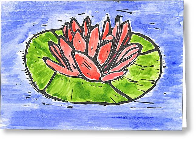 Lino Cut Mixed Media Greeting Cards - Red Waterlily Greeting Card by Lynn-Marie Gildersleeve