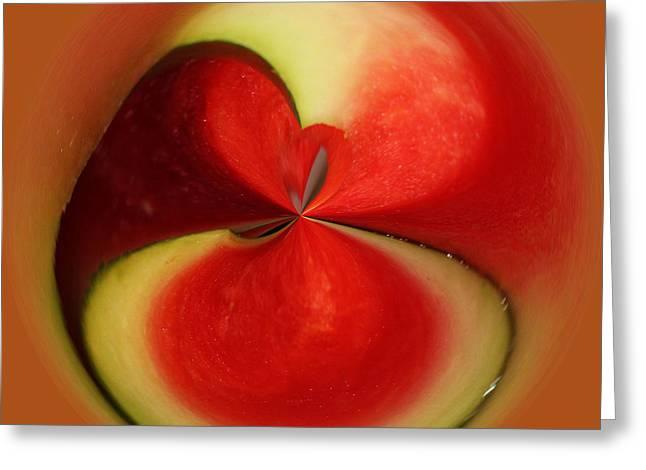 Watermelon Greeting Cards - Red Watermelon Greeting Card by Cynthia Guinn
