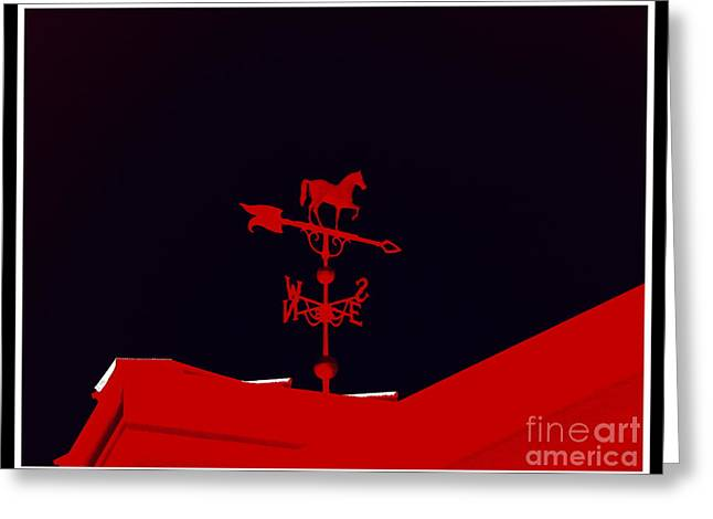 Weathervane Digital Art Greeting Cards - Red Weather Vane With Snow On The Roof . border Greeting Card by Renee Trenholm
