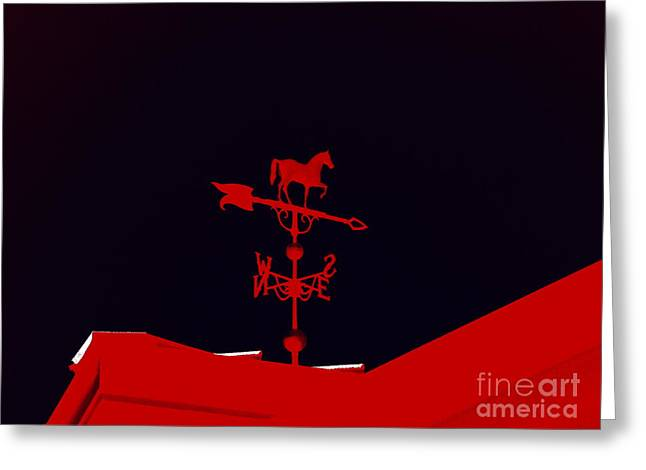 Weathervane Digital Art Greeting Cards - Red Weather Vane With Snow On The Roof Greeting Card by Renee Trenholm