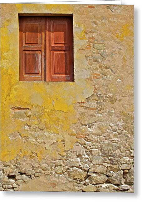 Broken Shutters Greeting Cards - Red Weathered Wood Window of the Medieval Village of Obidos Greeting Card by David Letts