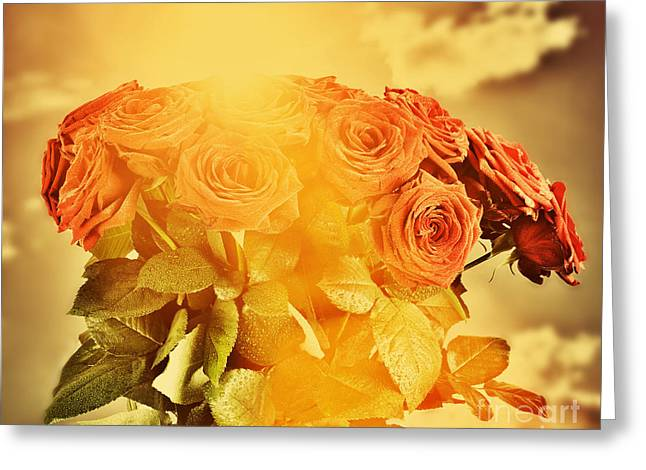 Bouquet Of Roses Greeting Cards - Red wet roses flowers bouquet on sky background Greeting Card by Michal Bednarek
