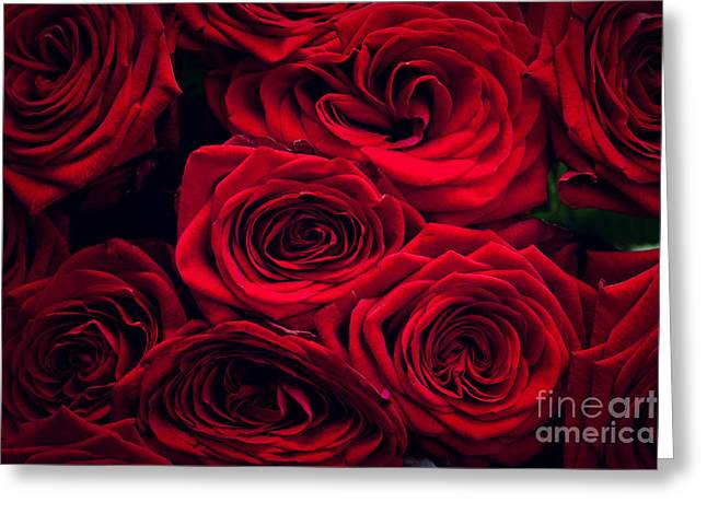 Wet Rose Greeting Cards - Red wet roses isolated on black background Greeting Card by Michal Bednarek