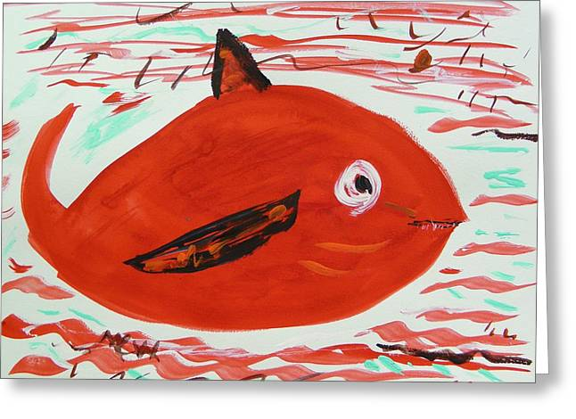 Ocean Mammals Drawings Greeting Cards - Red Whale in Red Waves Greeting Card by Mary Carol Williams