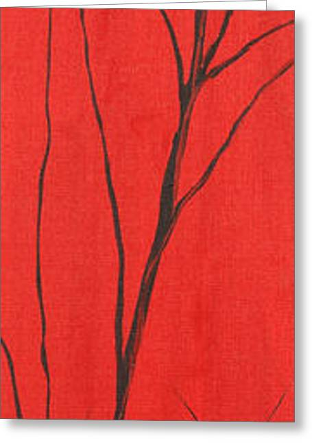Landscape Posters Greeting Cards - Red White And Black 1 Of 3 Greeting Card by Roni Ruth Palmer