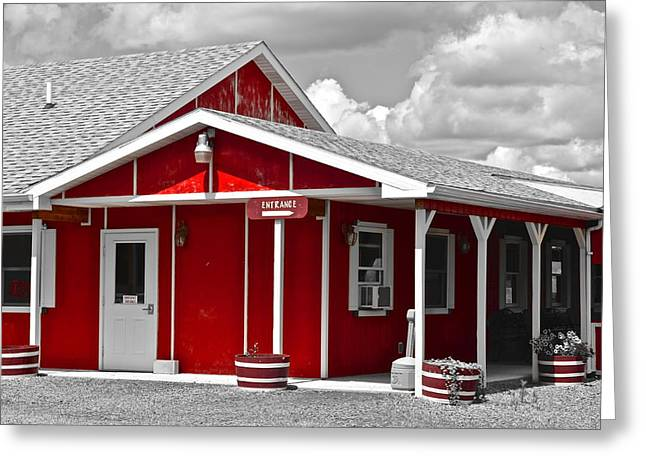 Visceral Greeting Cards - Red White and Black Greeting Card by Frozen in Time Fine Art Photography