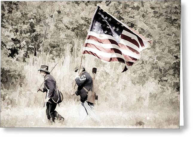 Confederate Flag Greeting Cards - Red White And Blue Greeting Card by Athena Mckinzie