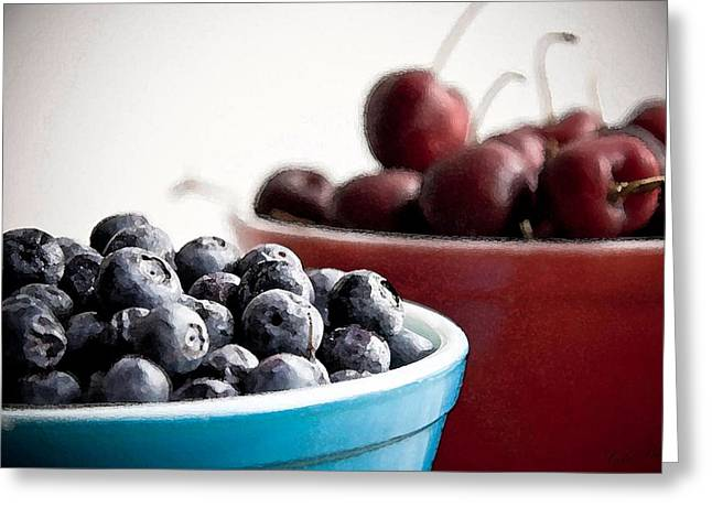 Blueberry Drawings Greeting Cards - Red White and Blue Greeting Card by Cole Black