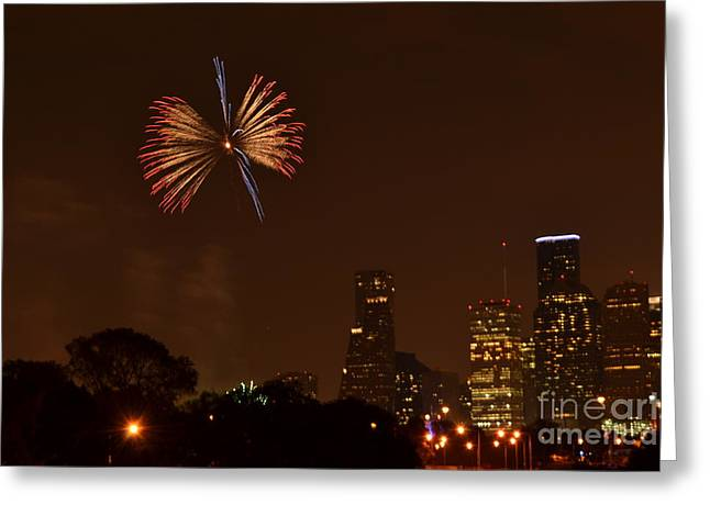 Red White and Blue Firework Greeting Card by Aaron Edrington