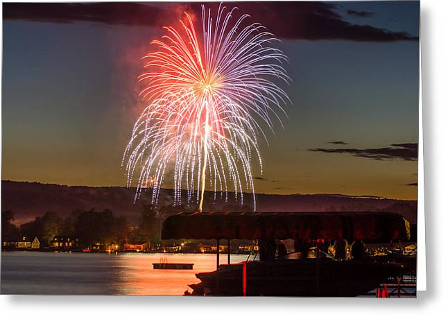 Keuka Greeting Cards - Red White and Blue Fireworks over Keuka Lake Greeting Card by Photographic Arts And Design Studio