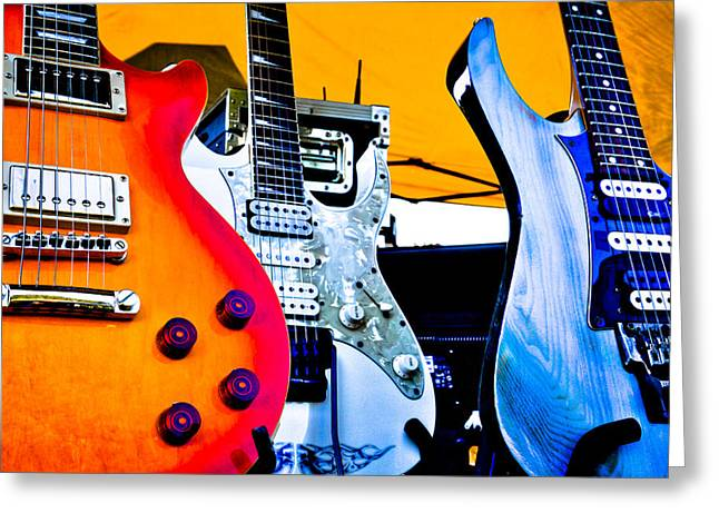 Red White And Blue Guitars Greeting Card by David Patterson