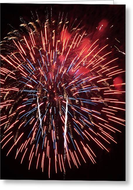Red White And Blue Greeting Card by Harold Rau