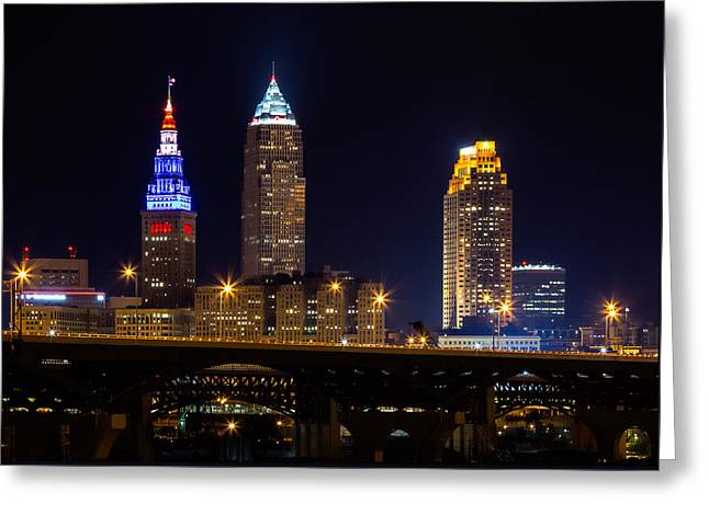 Evening Scenes Greeting Cards - Red White and Blue In Cleveland Greeting Card by Dale Kincaid