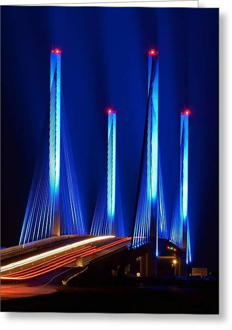 Delmarva Greeting Cards - Red White and Blue Indian River Inlet Bridge Greeting Card by William Bartholomew