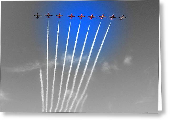 Military Airplanes Greeting Cards - Red White and Blue Greeting Card by Karen Cook