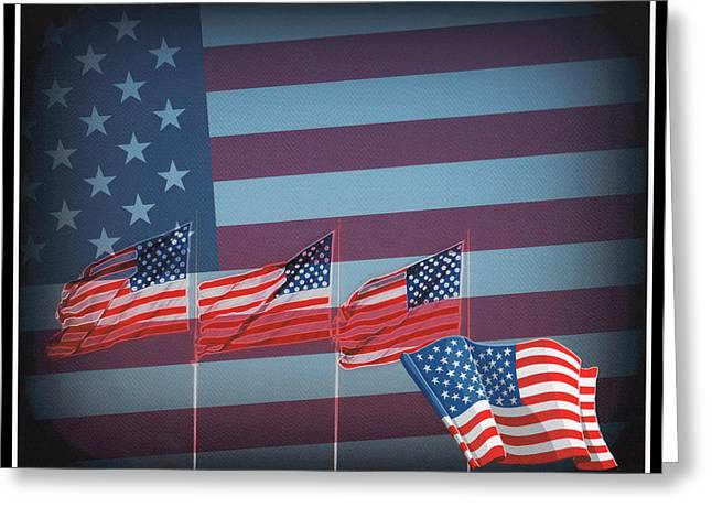 Red White And Blue Greeting Card by Kay Novy