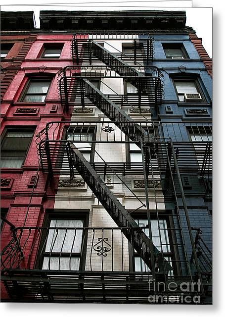 New York City Fire Escapes Greeting Cards - Red White and Blue New York City Greeting Card by John Rizzuto