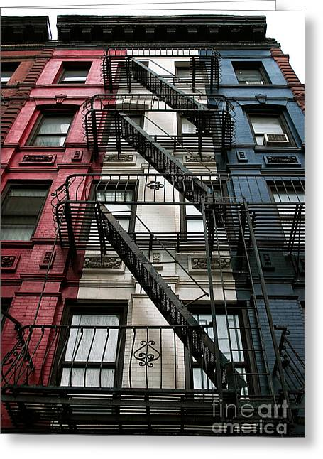 Red White And Blue Prints Greeting Cards - Red White and Blue New York City Greeting Card by John Rizzuto