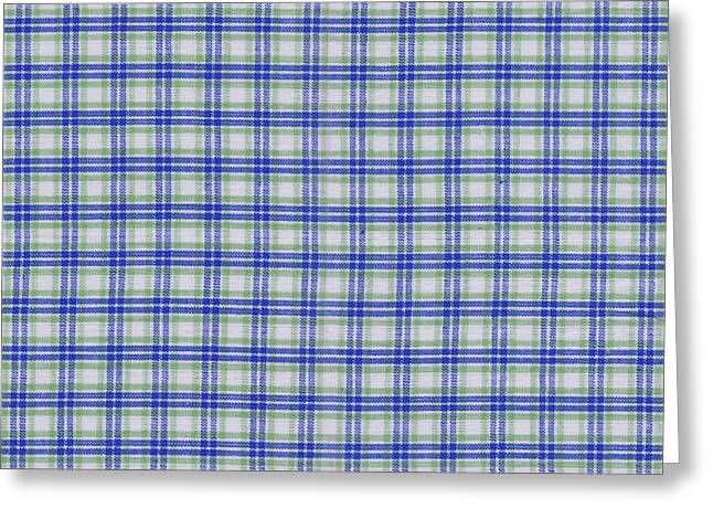 Checked Tablecloths Photographs Greeting Cards - Red White and Blue Plaid Fabric Background Greeting Card by Keith Webber Jr