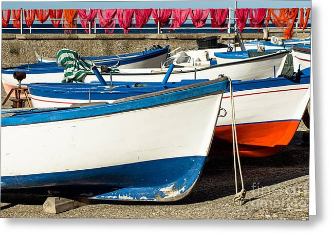 Livelihood Greeting Cards - Red White and Blue Greeting Card by Prints of Italy