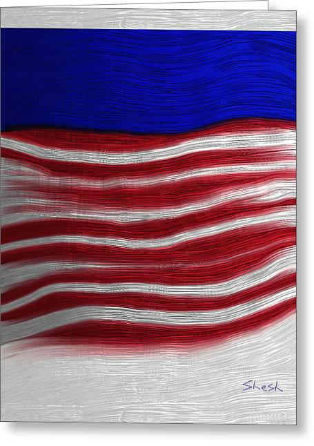 Shesh Tantry Greeting Cards - Red White and Blue Greeting Card by Shesh Tantry