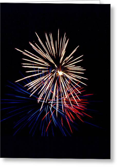 Skyrockets Greeting Cards - Red white and blue skyrocket Greeting Card by Robert Estes