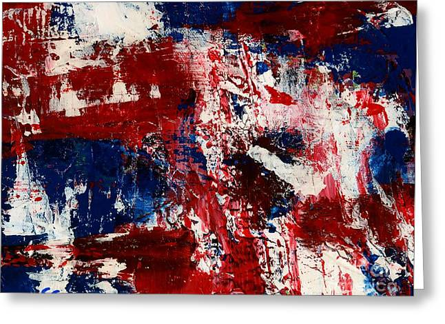Red White And Blue Greeting Card by Susan Sadoury