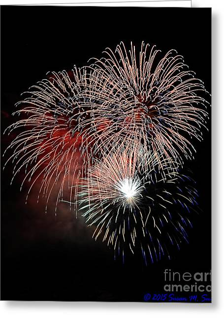 Wpa Prints Greeting Cards - Red White and Blue Symphony Greeting Card by Susan Smith