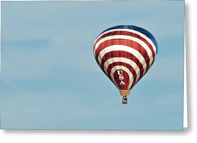 4th July Greeting Cards - Red White And Blue USA Hot Air Balloon Greeting Card by Jim Vallee