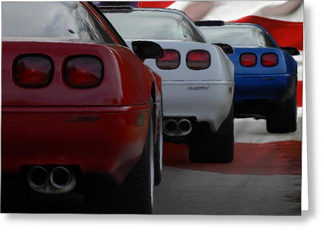 Patriotic Pastels Greeting Cards - Red White and Blue ZR1s Greeting Card by Rodney Mann