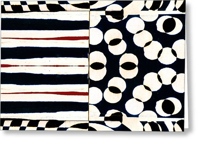 Op Art Greeting Cards - Red White Black Number 1 Greeting Card by Carol Leigh