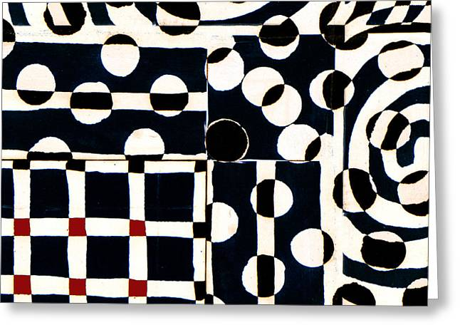 Op Art Greeting Cards - Red White Black Number 2 Greeting Card by Carol Leigh