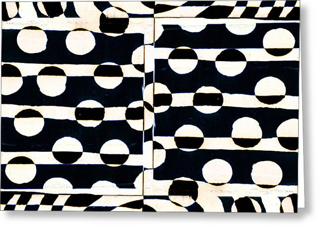 Op Art Greeting Cards - Red White Black Number 3 Greeting Card by Carol Leigh
