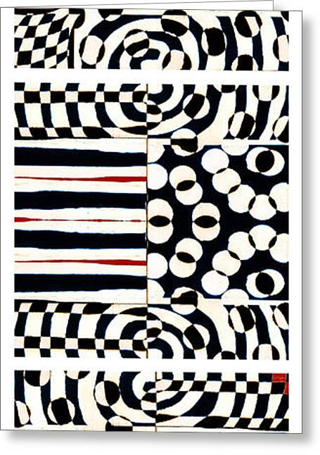 Op Art Greeting Cards - Red White Black Number 4 Greeting Card by Carol Leigh