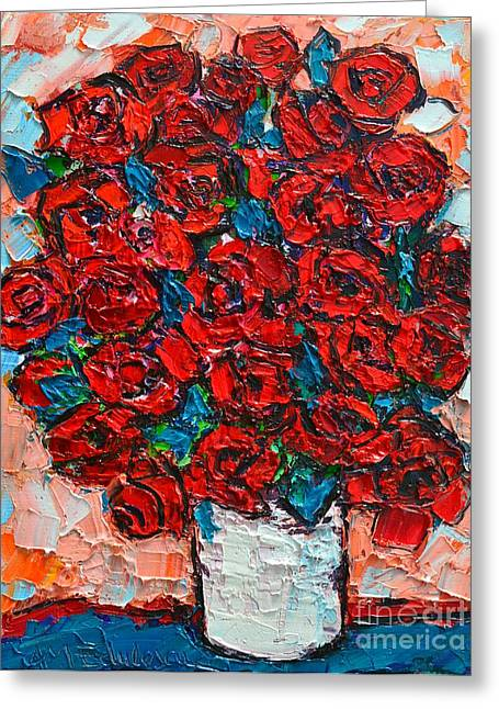Red Wild Roses Greeting Card by Ana Maria Edulescu