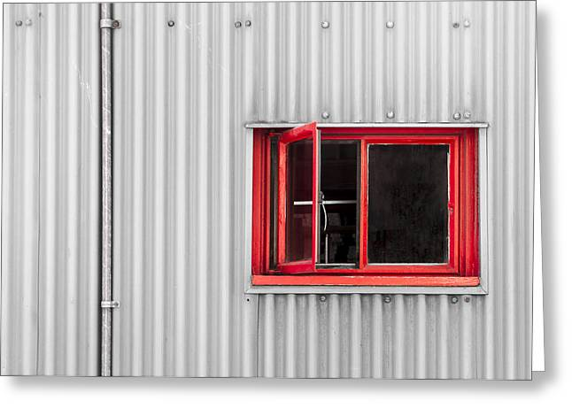 Atelier Greeting Cards - Red Window Greeting Card by Andrew Campbell