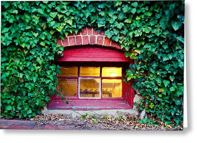 Ivy Corners Greeting Cards - Red Window at the Ivy Corner Black Mountain NC Greeting Card by Mela Luna