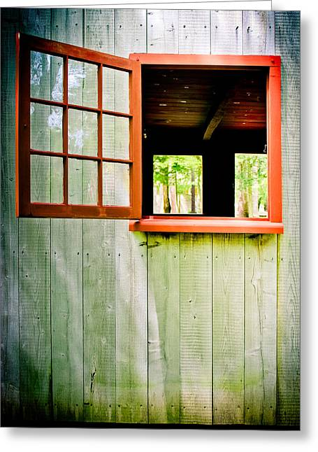 Exterior Wall Greeting Cards - Red Window Greeting Card by Colleen Kammerer