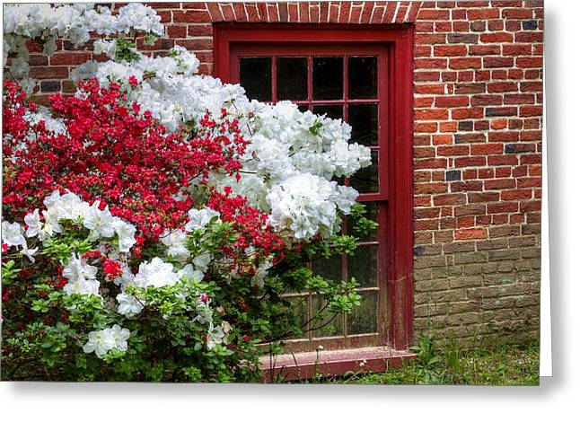 Grist Mill Greeting Cards - Red Window Greeting Card by David Byron Keener