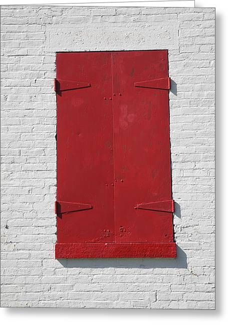 Frame House Greeting Cards - Red Window Greeting Card by Frank Romeo