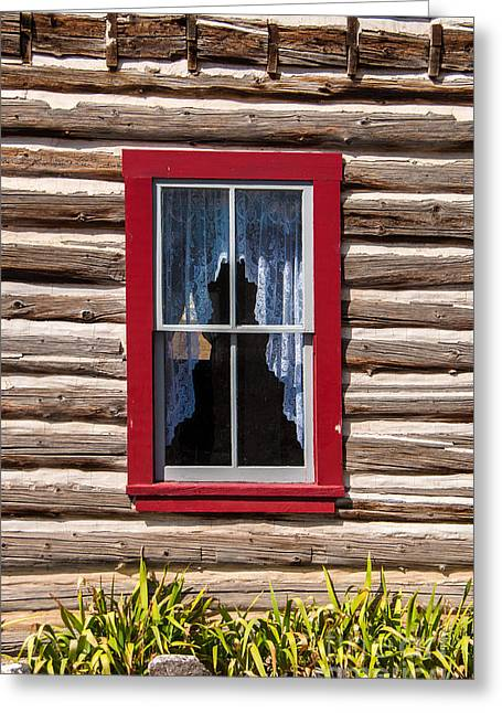 Cabin Window Greeting Cards - Red Window Log Cabin - idaho Greeting Card by Gary Whitton