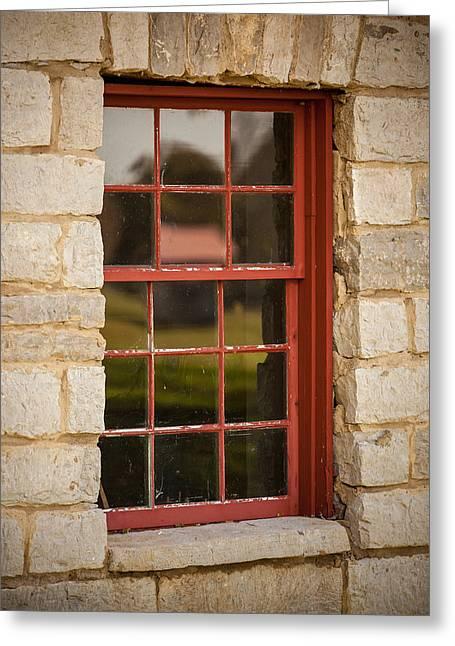 Art Glass Photographs Photographs Photographs Greeting Cards - Red Window Greeting Card by Paul Bartoszek