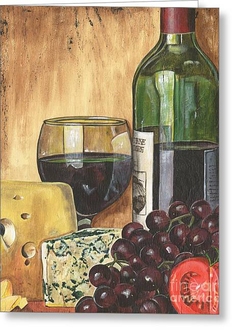 Wine-bottle Greeting Cards - Red Wine and Cheese Greeting Card by Debbie DeWitt