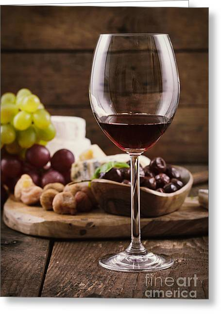 Cellar Greeting Cards - Red wine and cheese Greeting Card by Mythja  Photography