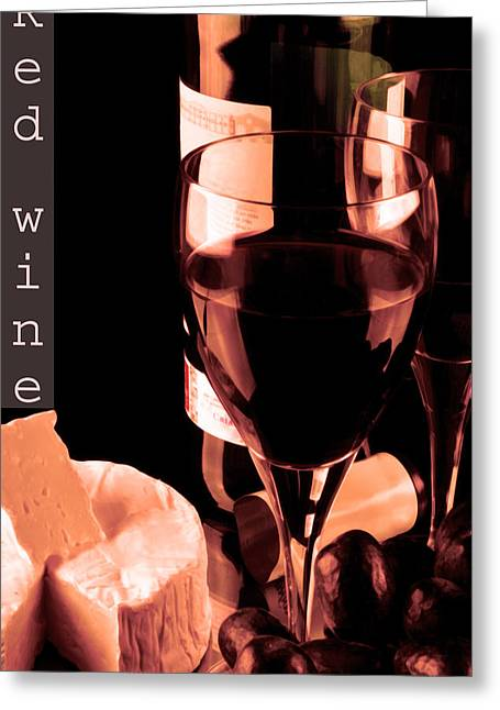 Goblet Greeting Cards - Red wine and glass Greeting Card by Toppart Sweden