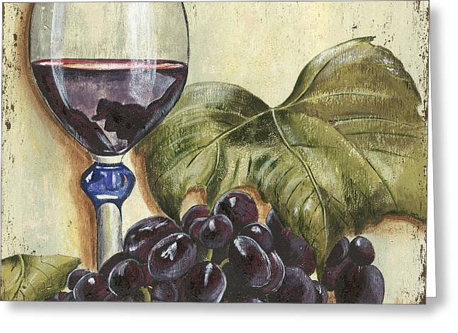 Cocktails Greeting Cards - Red Wine And Grape Leaf Greeting Card by Debbie DeWitt