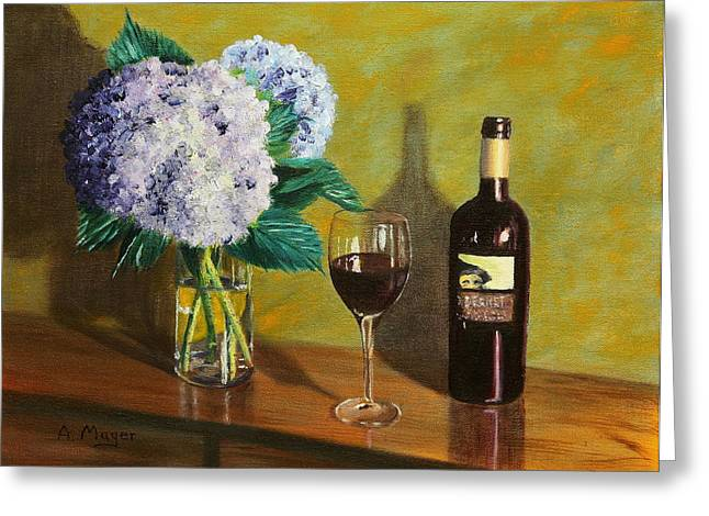 Red Wine Prints Greeting Cards - Red Wine and Hydrangea Greeting Card by Alan Mager