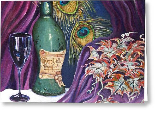 Red Wine and Peacock Feathers Greeting Card by Caroline Street
