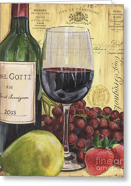 Groceries Greeting Cards - Red Wine and Pear Greeting Card by Debbie DeWitt