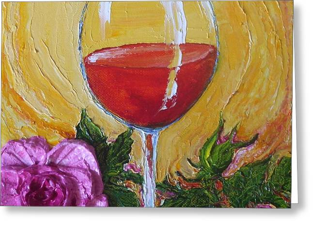 Red Wine Prints Greeting Cards - Red Wine and Pink Rose Greeting Card by Paris Wyatt Llanso